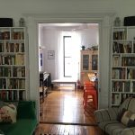 Shelves on either side of pocket doors